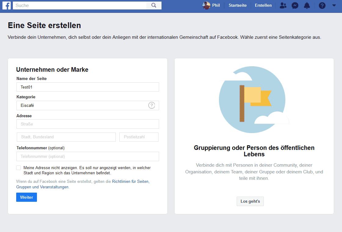 Facebook Seite erstellen, kategorie auswählen