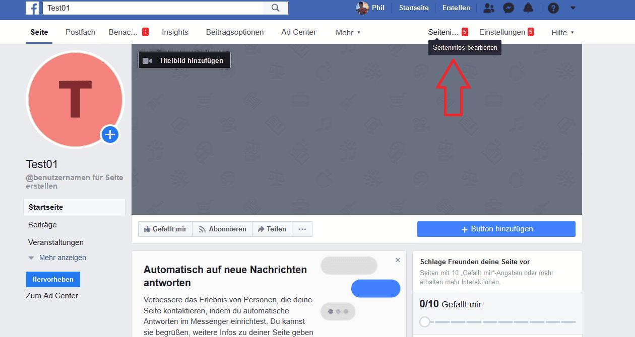 Facebook Seite erstellen, Seiteninfos öffnen