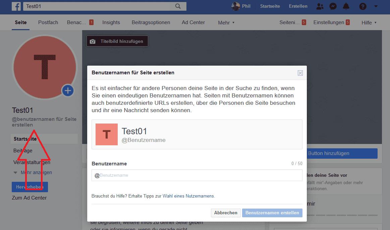 Facebook Seite erstellen, URL festlegen