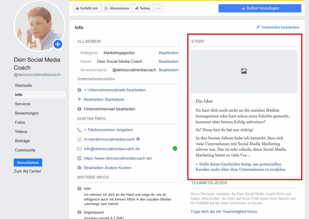 Facebook Seite erstellen, story anlegen